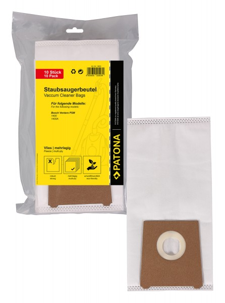 PATONA 10 vacuum cleaner bag multilayered fleece f. Bosch Ventaro PSM 1400 PSM1400 PSM1400A