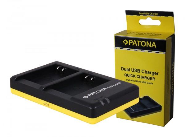 PATONA Dual Schnell-Ladegerät f. Olympus Li-90B Li90B inkl. Micro-USB Kabel