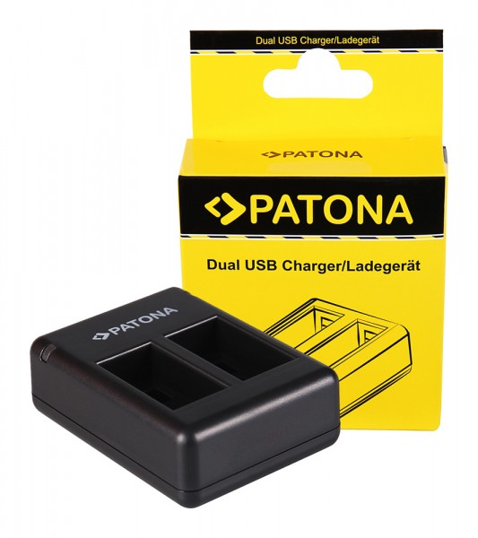 PATONA Dual Quick-Charger f. Garmin Virb 360 VIRB360 GMICP702335 incl. Micro-USB cable