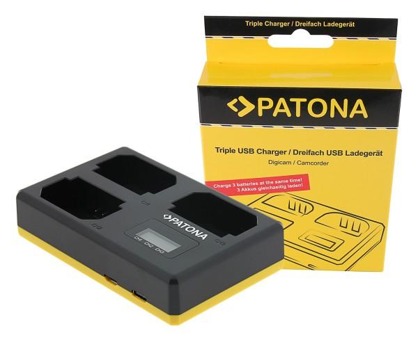 PATONA USB Triple Ladegerät f. Sony NP-FZ100 A7 III A7M3 Alpha 7 III A7 R III A7RM3 Alpha 7 R III A9 Alpha 9 FZ100