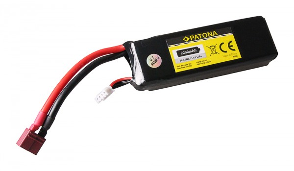 PATONA RC Battery 11,1V 2200mAh Dean Li-Polymer für Align T Rex 450, NIGHT VisionAi