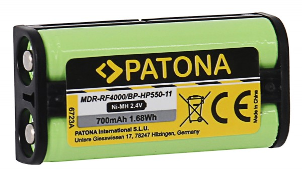 PATONA Battery f. Sony MDR-RF4000 BP-HP550-11 Medion MDR-PF970RK