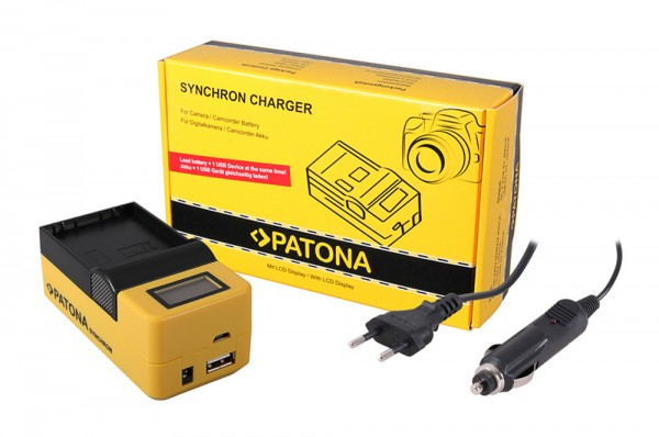 PATONA Synchron USB Charger f. Olympus BLH1 BLH-1 with LCD
