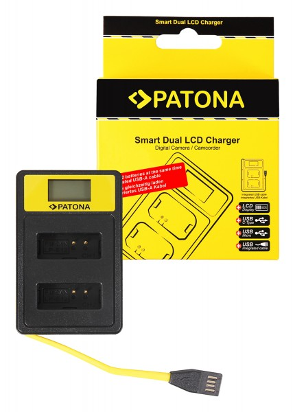 PATONA Smart Dual LCD USB Charger f. Canon LP-E12 LPE12 EOS M