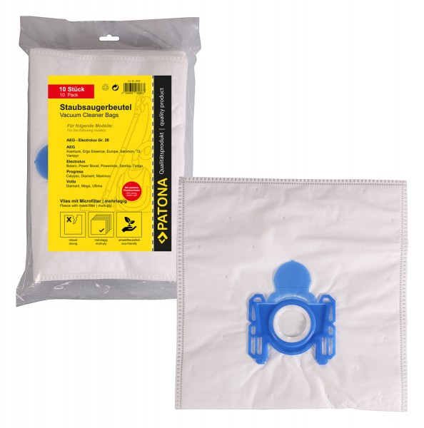 PATONA 10 vacuum cleaner bag multi layer fleece incl. Microfilter f. AEG Gr. 28