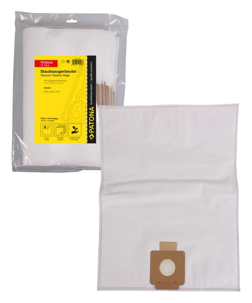 PATONA 10 vacuum cleaner bag multi layer fleece f. Kärcher T 12/1, T15/1, T17/1, TSS 12, 6.904-315.0, 6.907-017.0