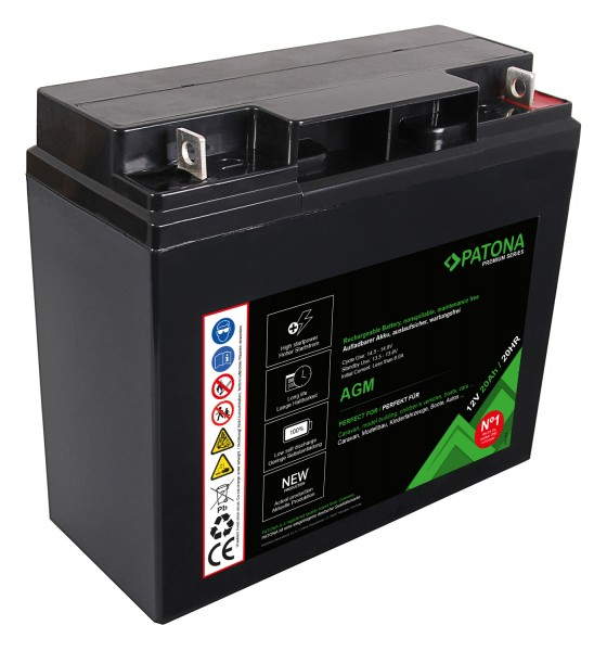 PATONA Premium AGM Lead Battery 12V 20Ah 20HR
