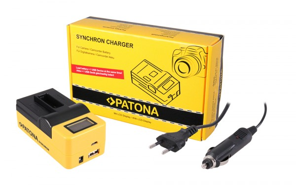 PATONA Synchron USB Ladegerät f. GoPro Hero 5 Black AHDBT-501 mit LCD-Display