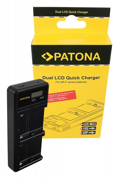 PATONA Dual LCD USB Charger f. Sony F550 F750 F970 FM50 FM500HA1