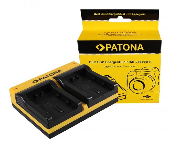 PATONA Dual Ladegerät f. Samsung IA-BP210E HMX HMXH203 HMX-H203 IA-BP210E SMX SMXF40 inkl. Micro-USB