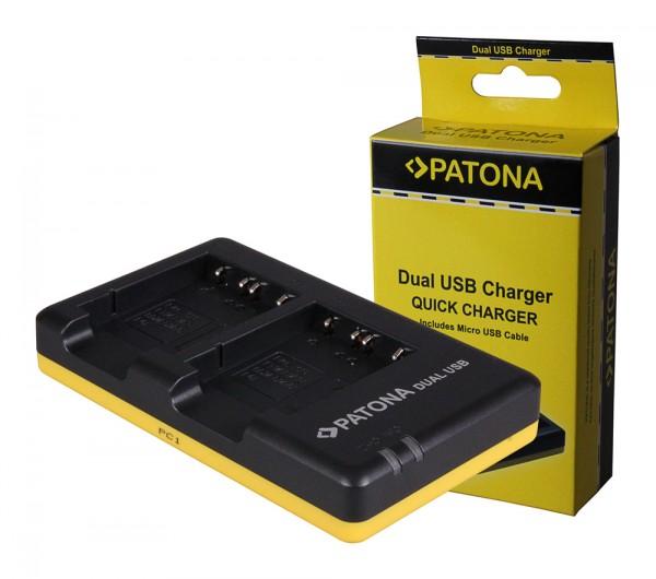 PATONA chargeur double pour Sony NP-BG1 DSC F88 G1 P100 P100/LJ P100/r P100/S P120 P150avec câble Micro-USB