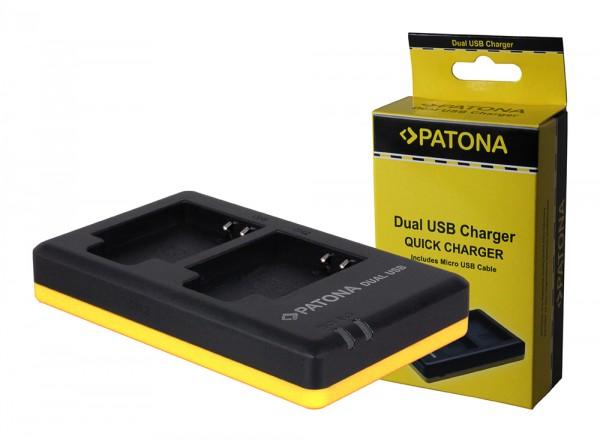 PATONA chargeur double pour Casio Li50b TR350 TR-350 Li50b Li50b General Imaging Li50bavec câble Micro-USB