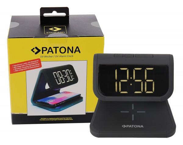 PATONA Wecker mit LCD Display kabelloser Ladefunktion und UV-Desinfektion schwarz