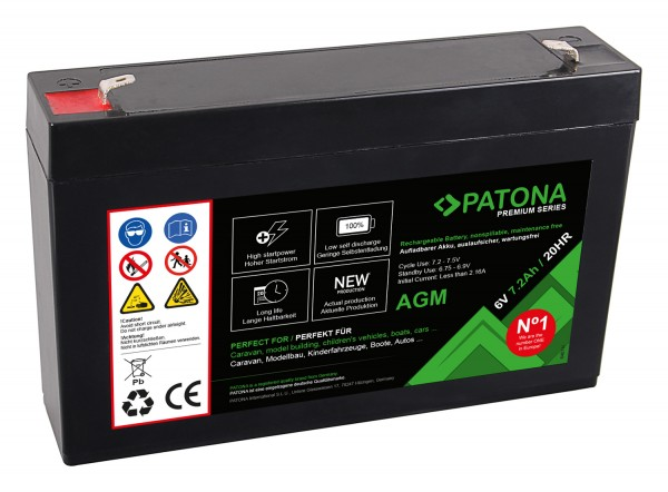 PATONA Premium AGM Lead Battery 6V 7.2Ah 20HR