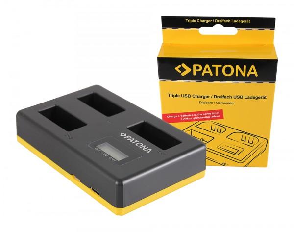 PATONA USB Triple Ladegerät f. Canon LP-E17 EOS 750D EOS 760D EOS 8000D Kiss X8i Rebel Rebel T6
