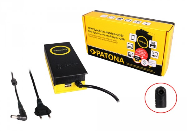 PATONA 90W Synchron Netzteil 6,5x4,4x10mm 19,5V inkl. USB Ausgang 2,1A