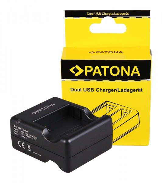 PATONA Dual Schnell-Ladegerät f. Xiaomi Yi AZ13-2 AZ13-1 inkl. Micro-USB Kabel