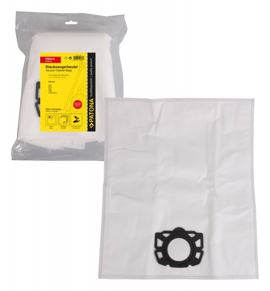 PATONA 5 vacuum cleaner bag multi layer fleece f. Kärcher MV4 MV5 MV6 WD6 2.863-006.0 with plastic cap