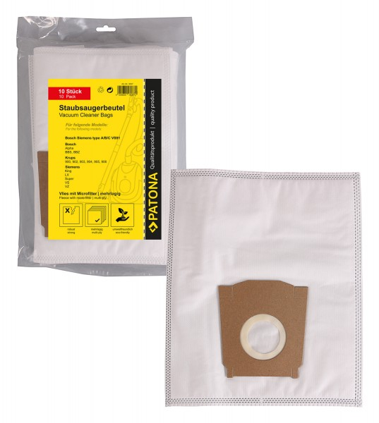 PATONA 10 vacuum cleaner bag multi layer fleece incl. Microfilter f. Bosch Type A,B,C