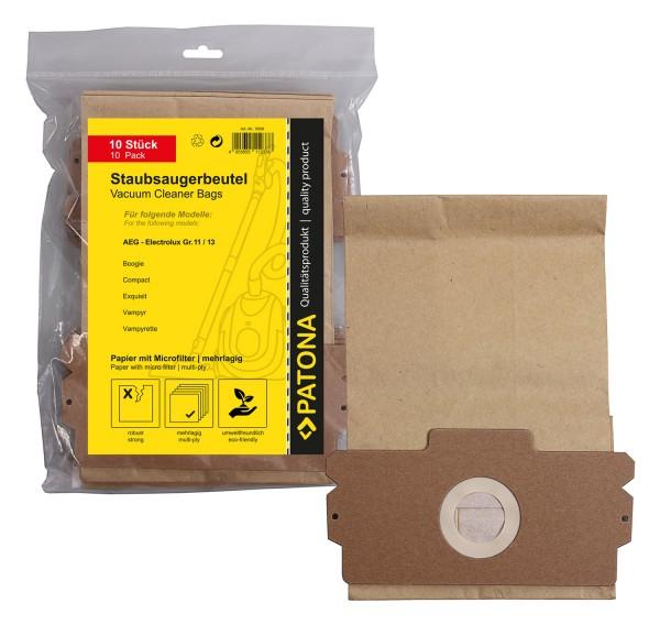 PATONA 10 sacs d'aspirateur, papier multiplis +microfiltre pour AEG Gr.13 Vampyr 1100 1200 Compact de luxe Compact electronic