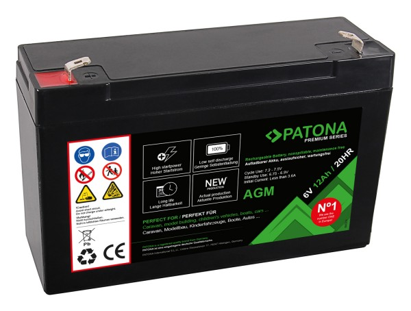 PATONA Premium AGM Lead Battery 6V 12Ah 20HR