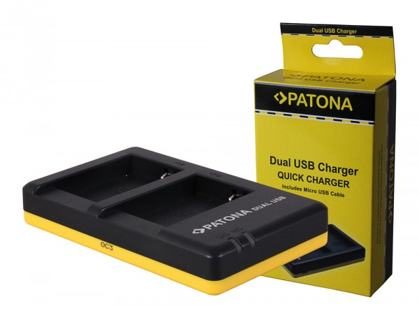 PATONA Dual Schnell-Ladegerät f. Canon NB-10L, NB10 L, NB10L inkl. Micro-USB Kabel
